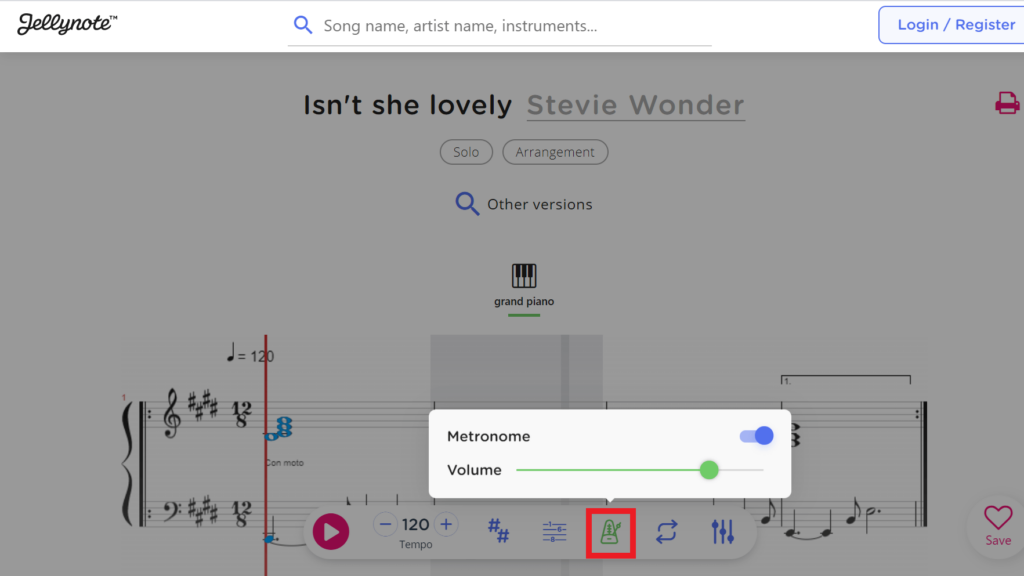 Metronome feature on interactive sheet music