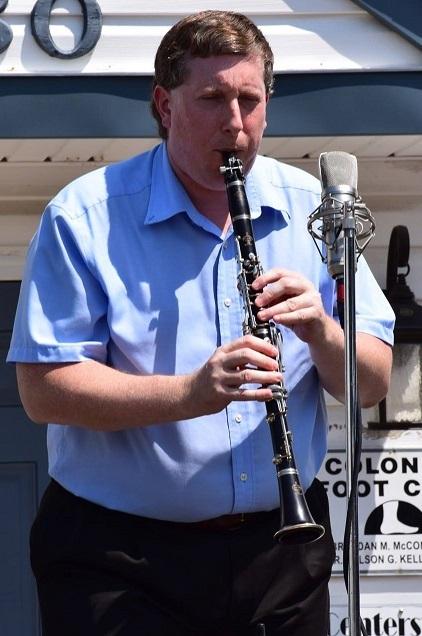 Jamie playing the clarinet