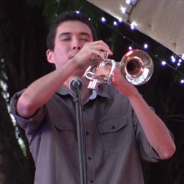 Dean Brockdorff playing the trumpet